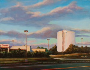 Michele Boll | painting of Market Basket and water tower, Billerica, MA, sunset.