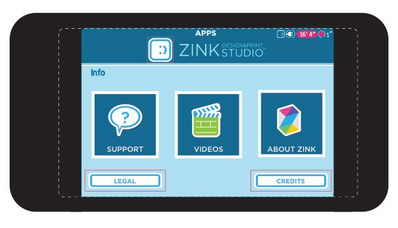 Sample app wireframe for ZINK Happy software
